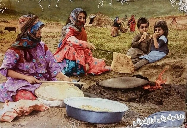 تابلو فرش دستباف طرح نان پز روستایی