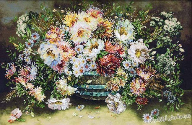 تابلو فرش دستباف گل و گلدان کد 128