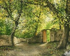 تابلو فرش منظره کوچه باغ کد 1259