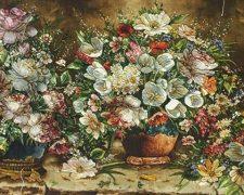 تابلو فرش دستباف گل و گلدان کتابخانه - اندازه بزرگ
