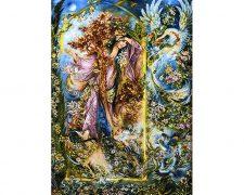 تابلو فرش دستباف مینیاتور راز رنگی اثر استاد فرشچیان کد 150