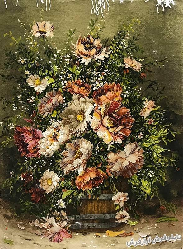 تابلو فرش دستباف گل و گلدان کد 160