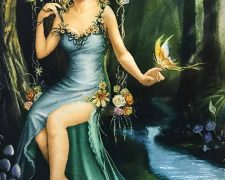 تابلو فرش طرح دختر تاب باز (رهایی پروانه) کد 164