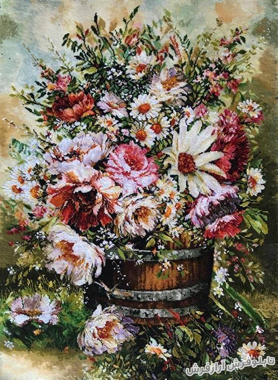 تابلو فرش دستبافت طرح گل و سبد زیبا کد 170