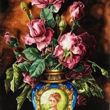 تابلو فرش گل و گلدان آبی کد 174