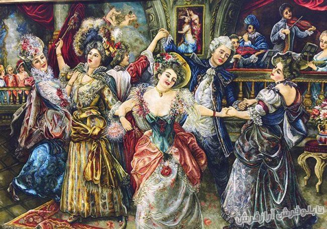 تابلو فرش دستباف فرانسوی طرح رقص کد 194