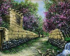 عکس تابلو منظره کوچه باغ بهاری زیبا کد 241
