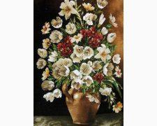 تابلو فرش دستباف گل و گلدان ستونی کد 296