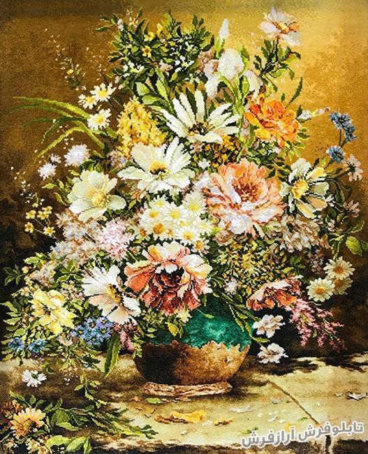 تابلو فرش دستباف گل و گلدان کد 312