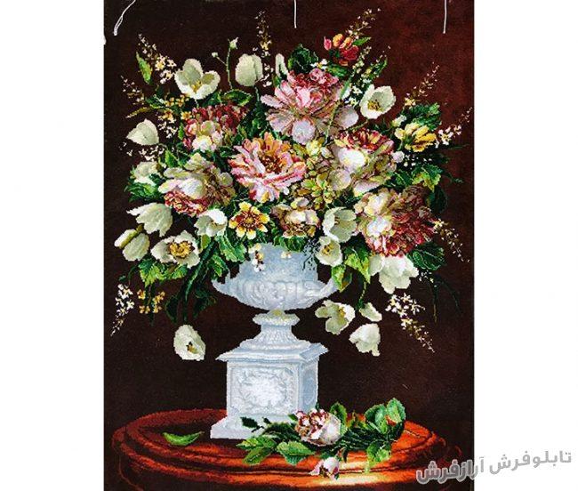 تابلو فرش گل و گلدان سنگی زیبا کد 313