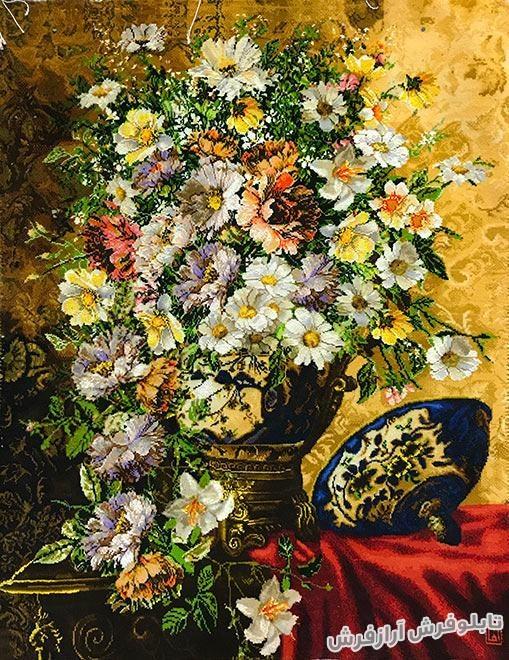 تابلو فرش دستبافت گل و گلدان قندانی کد 314