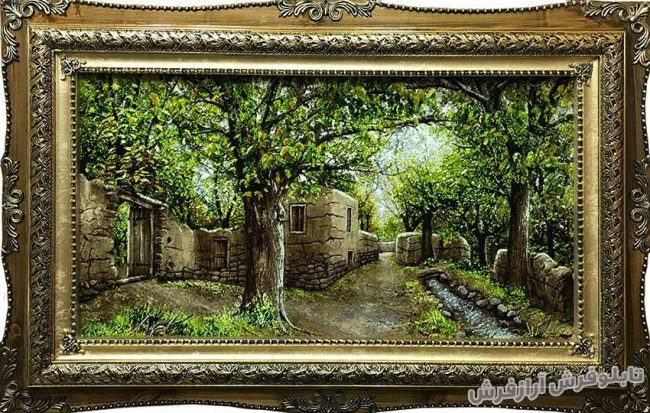 تابلو فرش منظره کوچه باغ و خانه روستایی کد 245