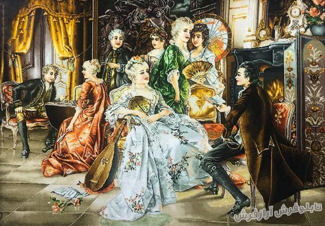 تابلو فرش مهمانی اشرافی - دستباف - کد 274