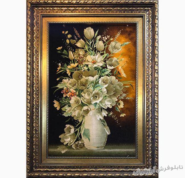 عکس تابلو فرش دستباف گل و گلدان سفالی کد 319