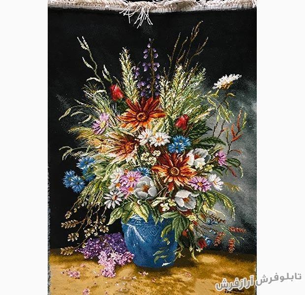 تابلو فرش دستباف گل و گلدان سفالی کد 324