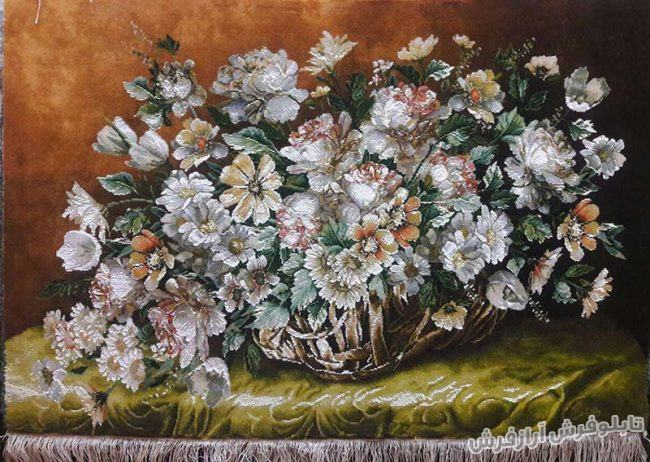 تابلو فرش دستباف گل و سبد کد 301