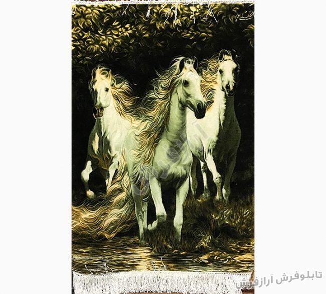 تابلو فرش گله اسب های وحشی کد 405