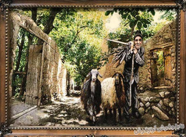 تابلو فرش طرح چوپان گوسفندان - دستبافت - کد 290