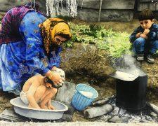 تابلو فرش دستباف حمام روستایی (عشایری) - کد 205