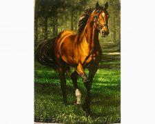 تابلو فرش دستبافت طرح دویدن اسب تنها - کد 262