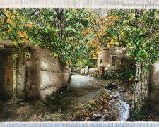 تابلو فرش دستباف منظره کوچه باغ زیبا - کد 550