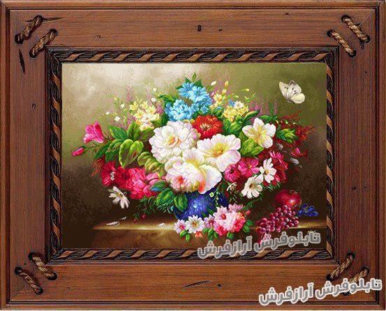 تابلو فرش گلدان گل های زیبا - کد 591