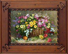 تابلو فرش دستباف گل و سبد بهار با گلهای زیبا و بهاری - کد 592