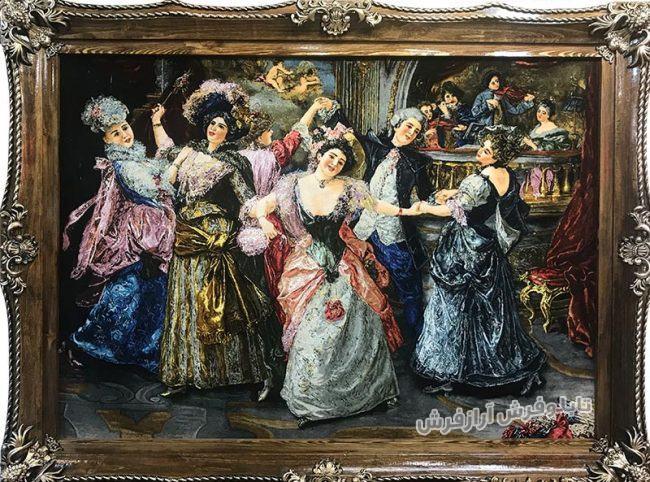 تابلو فرش دستباف طرح مهمانی و رقص و پایکوبی - کد 538