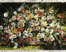 تابلو فرش دستباف گل لاله جنگلی کد 634
