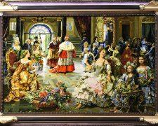 تابلو فرش دستباف مهمانی عروسی پاپ سایز ذرع و نیم - کد 429