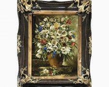 خرید اینترنتی تابلو فرش دستبافت گلدان سفالی گل لاله - کد 475