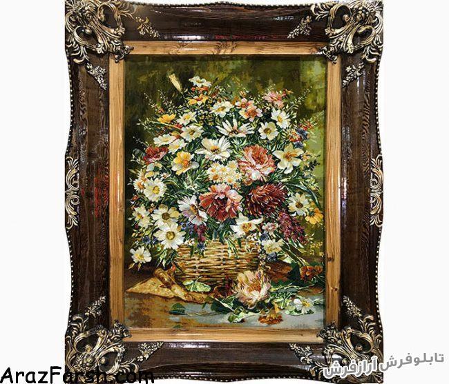 خرید آنلاین تابلو فرش دستبافت طرح سبد گل بابونه ستونی - کد 479