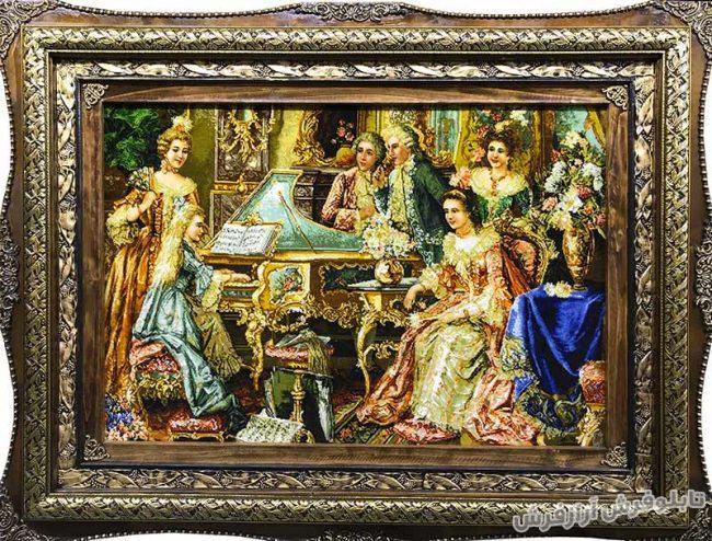 خرید آنلاین تابلو فرش دستباف طرح دختر پیانو زن - کد 539