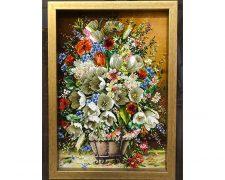 خرید اینترنتی تابلو فرش دستباف طرح گلدان گل لاله طولی (ستونی) - کد 608