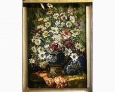 تابلو فرش دستبافت گل بابونه و گلدان قندانی زیبا - کد 631