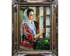 خرید آنلاین تابلو فرش دستباف طرح دختر ایرانی پشت پنجره - کد 622