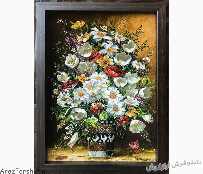 فروش اینترنتی تابلو فرش دستبافت طرح گلدان لیوانی گل بابونه - کد 638