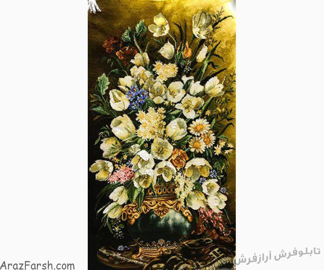 تابلوفرش دستباف گل و گلدان لاله - ستونی ، طولی - کد 654