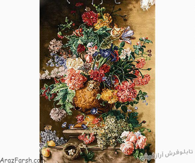 خرید آنلاین تابلو فرش دستباف طرح گلدان گل وحشی - کد 655