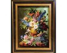 تابلو فرش دستبافت گل و گلدان گل های وحشی روی میز - کد 658