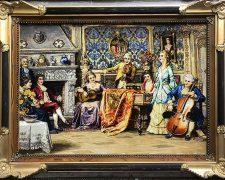 تابلو فرش دستباف طرح فرانسوی مجلس موسیقی - کد 663