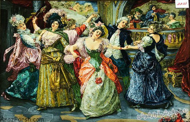 خرید آنلاین تابلوفرش دستبافت طرح رقص - کد 673