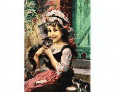 تابلو فرش دستباف طرح دختر زیبای گربه به دست - کد 684
