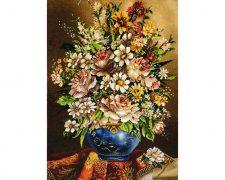 تابلو فرش دستباف طرح گلدان گل رز - کد 686