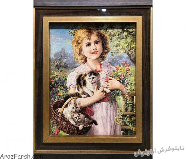 تابلو فرش دستبافت طرح دختر بچه زیبا و گربه - کد 688