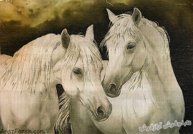 تابلو فرش دستباف طرح کله اسب با دو اسب زیبا - کد 708