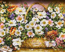 تابلو فرش دستباف طرح سبد گل بابونه با سایز کوچک - کد 714