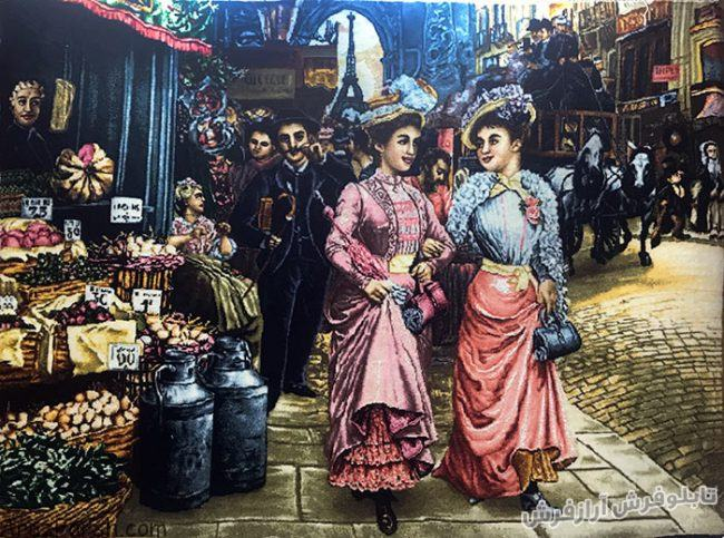 تابلو فرش دستباف طرح فرانسوی خیابان شانزلیزه پاریس - کد 720