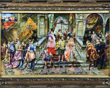 خرید آنلاین تابلو فرش دستباف طرح عروسی ناپلئون با سایز ذرع و نیم - کد 509
