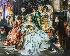 تابلو فرش دستباف طرح شاعر جوان نشسته در مهمانی اشراف - کد 719